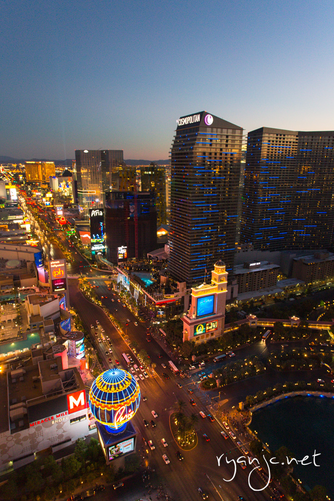 View from the Eiffel Tower at Paris of Las Vegas Boulevard - Las Vegas, NV.